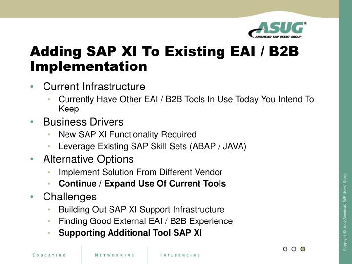 Adding SAP XI To Existing EAI / B2B Implementation