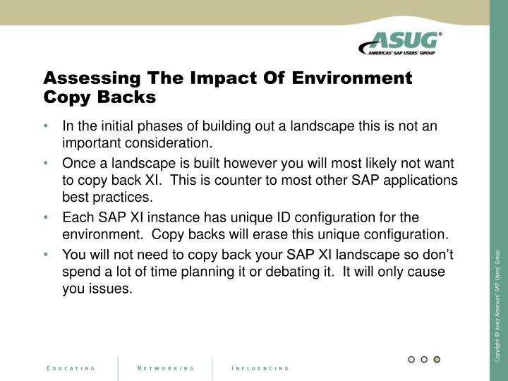 Assessing The Impact Of Environment Copy Backs