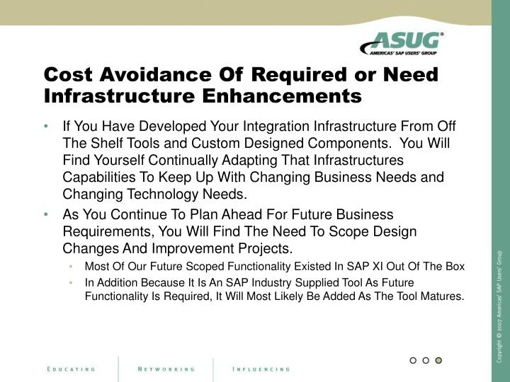 Cost Avoidance Of Required or Need Infrastructure Enhancements