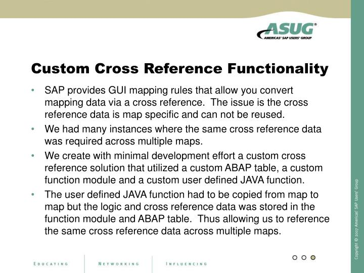 Custom Cross Reference Functionality