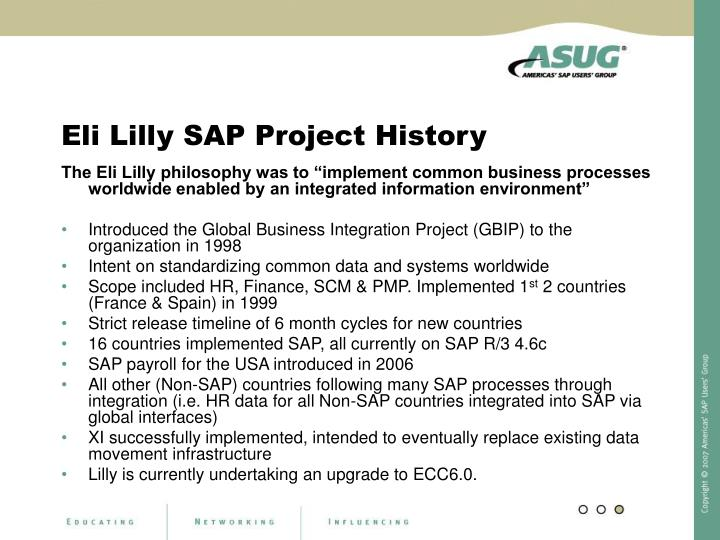 Eli Lilly SAP Project History