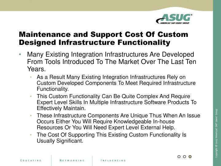 Maintenance and Support Cost Of Custom Designed Infrastructure Functionality