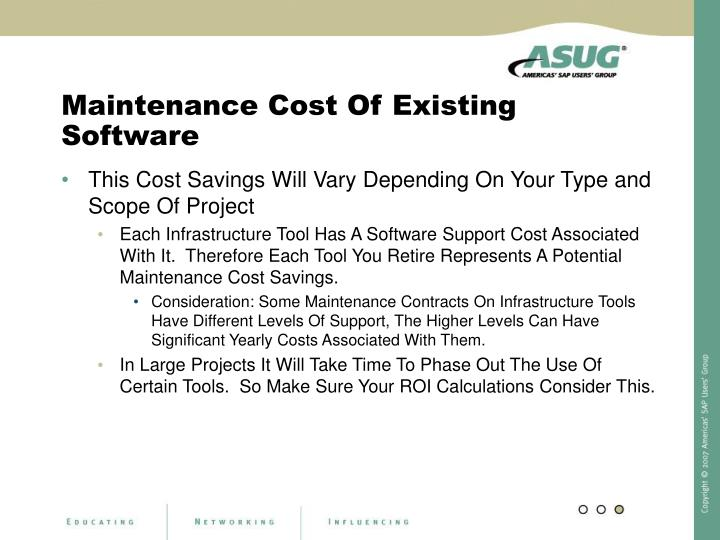 Maintenance Cost Of Existing Software