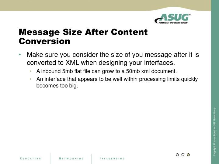 Message Size After Content Conversion