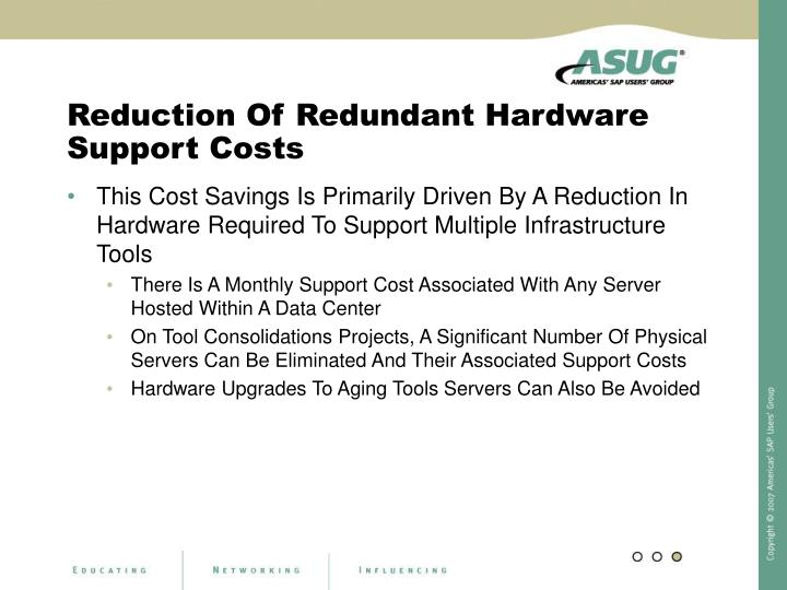 Reduction Of Redundant Hardware Support Costs