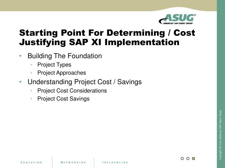 Starting Point For Determining / Cost Justifying SAP XI Implementation