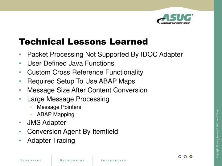 Technical Lessons Learned