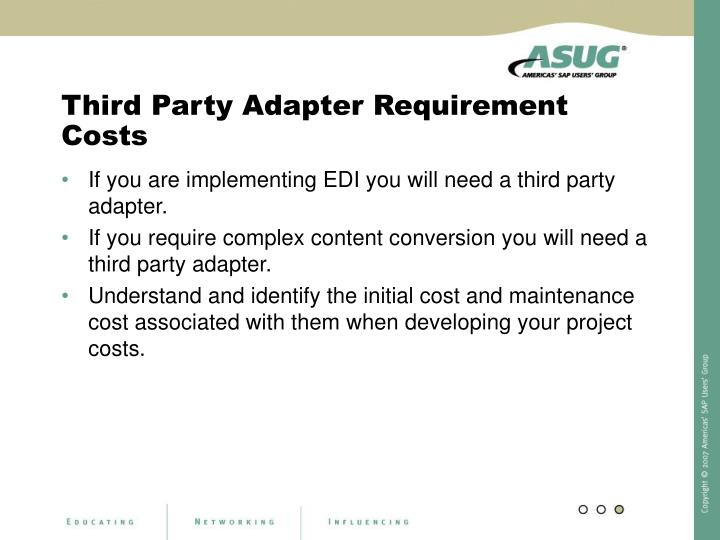 Third Party Adapter Requirement Costs