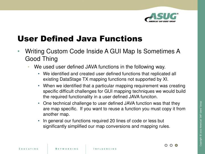 User Defined Java Functions