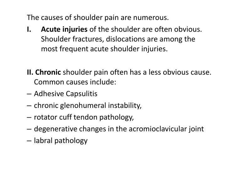 The causes of shoulder pain are numerous.