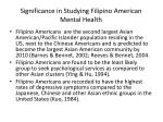 significance in studying filipino american mental health