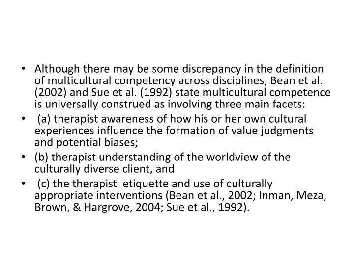 Although there may be some discrepancy in the definition of multicultural competency across disciplines, Bean et al. (2002) and Sue et al. (1992) state multicultural competence is universally construed as involving three main facets: