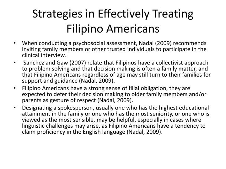 Strategies in Effectively Treating Filipino Americans