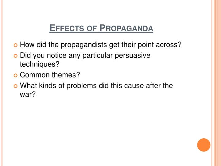 Effects of Propaganda