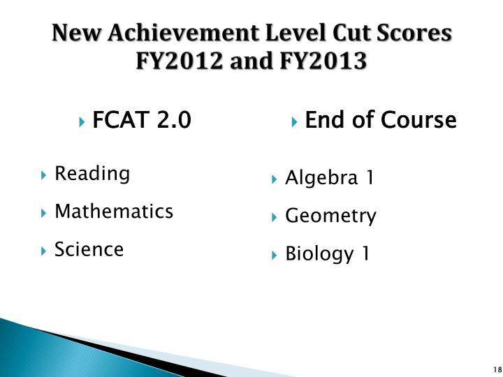 New Achievement Level Cut Scores