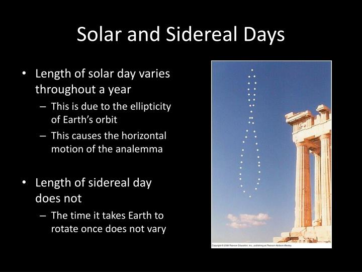 Solar and Sidereal Days