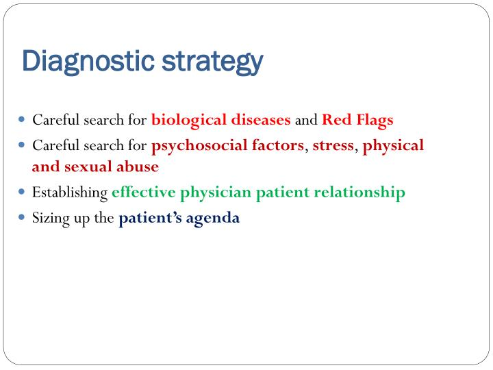 Diagnostic strategy