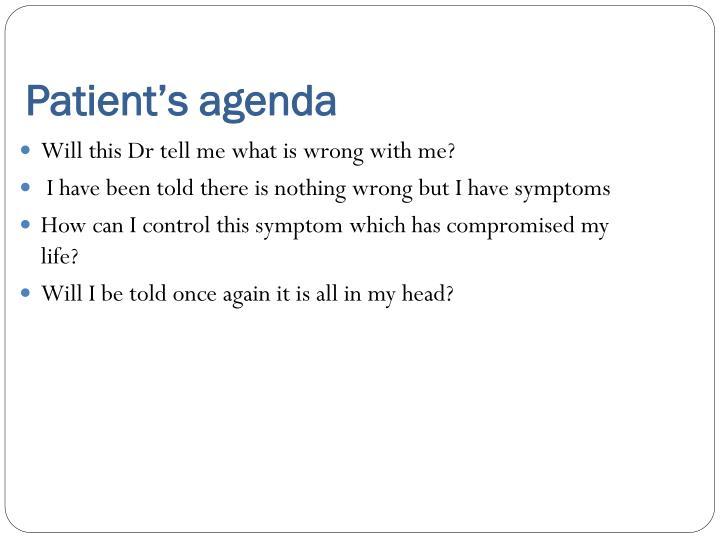 Patient's agenda