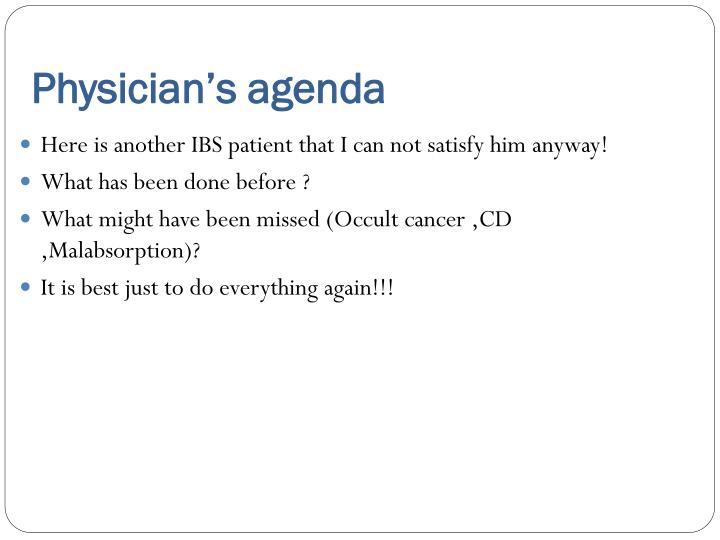 Physician's agenda
