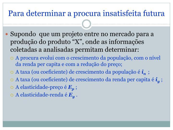 Para determinar a procura insatisfeita futura