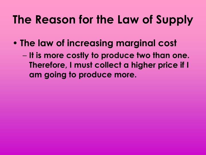 The Reason for the Law of Supply