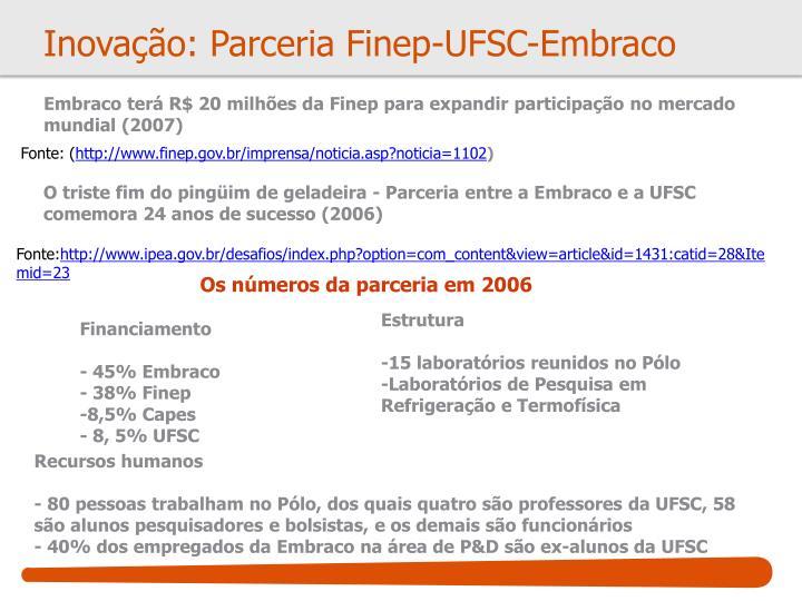 Inovação: Parceria Finep-UFSC-Embraco