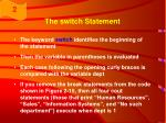 the switch statement1