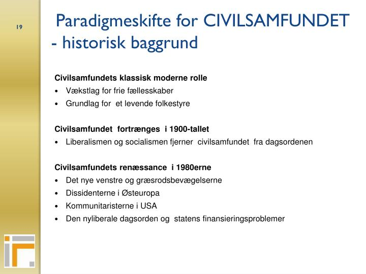 Paradigmeskifte for CIVILSAMFUNDET