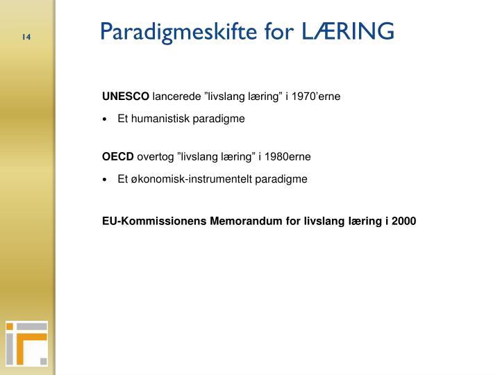 Paradigmeskifte for LÆRING
