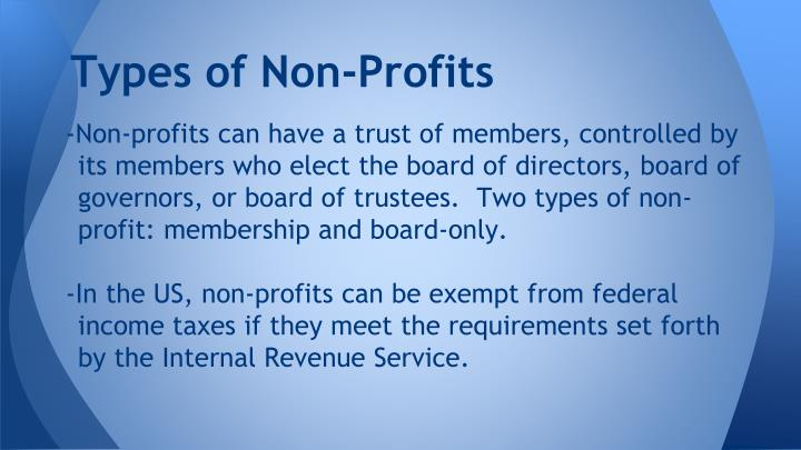 Types of Non-Profits