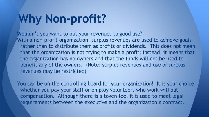 Why Non-profit?