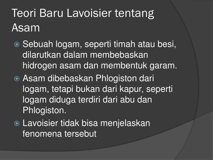 Teori Baru Lavoisier tentang Asam