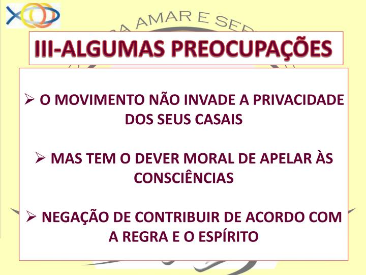 III-ALGUMAS PREOCUPAÇÕES