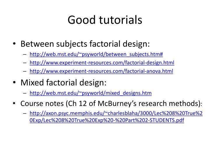 Good tutorials