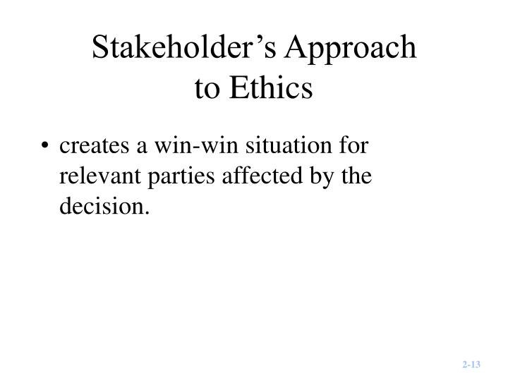 Stakeholder's Approach
