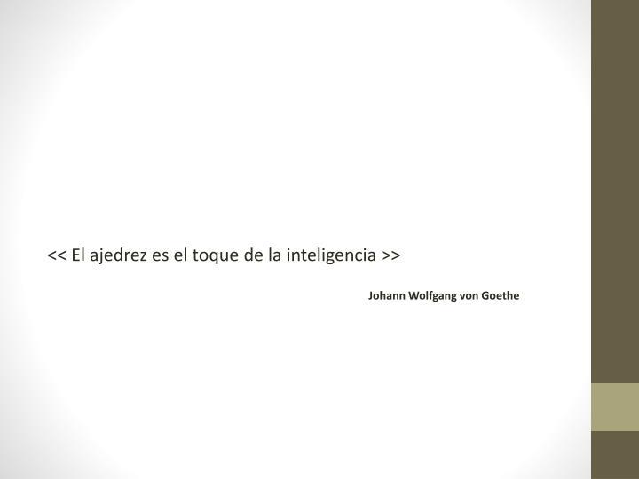 << El ajedrez es el toque de la inteligencia >>
