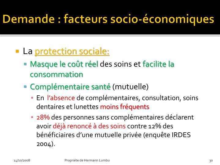 Demande : facteurs socio-économiques