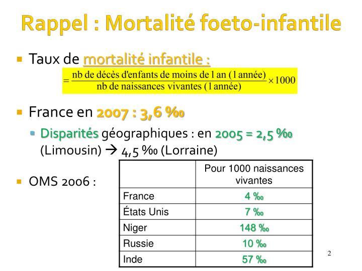 Rappel : Mortalité