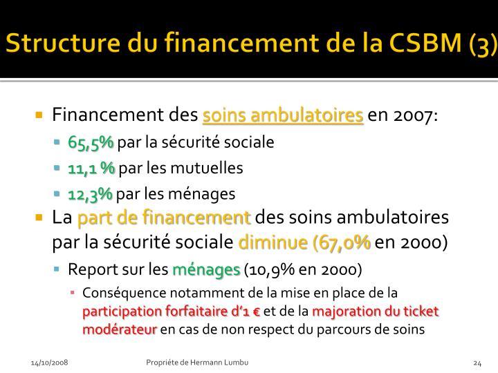 Structure du financement de la CSBM (3)