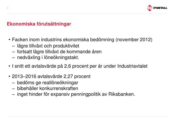 Facken inom industrins ekonomiska bedömning (november 2012)