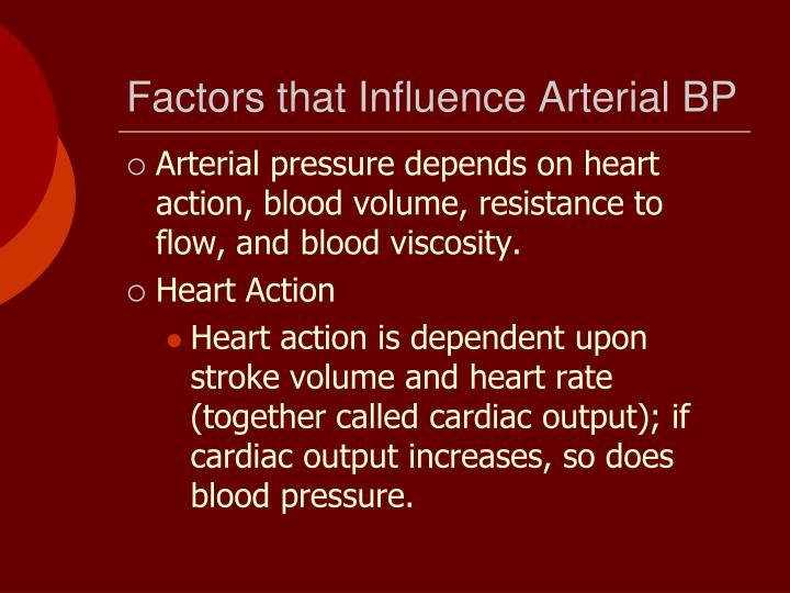 Factors that Influence Arterial BP