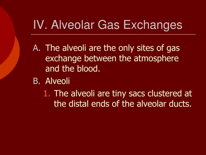 IV. Alveolar Gas Exchanges