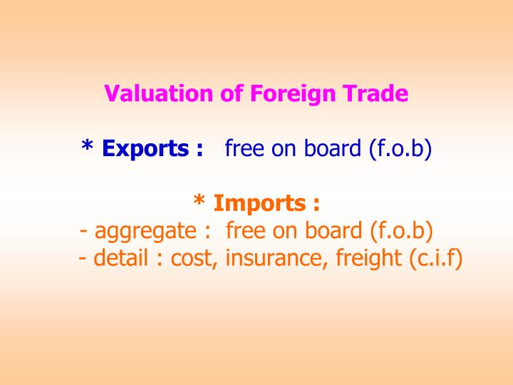 Valuation of Foreign Trade