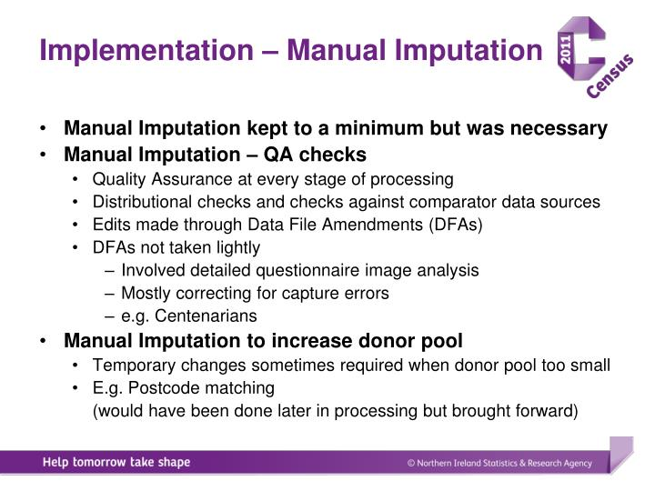 Implementation – Manual Imputation