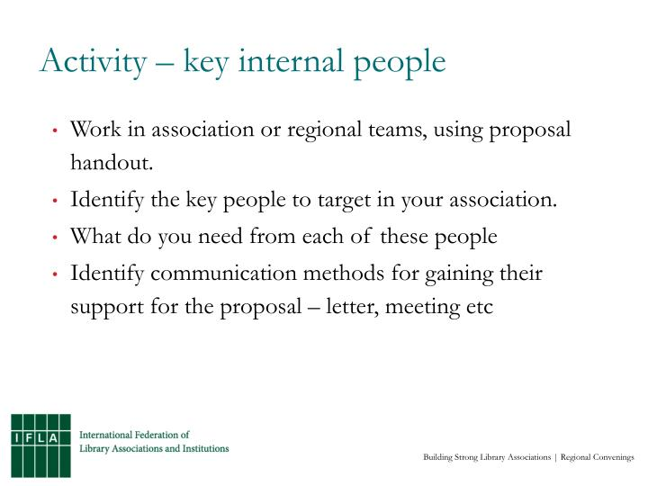 Activity – key internal people
