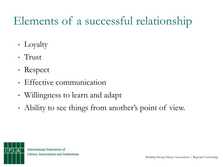 Elements of a successful relationship