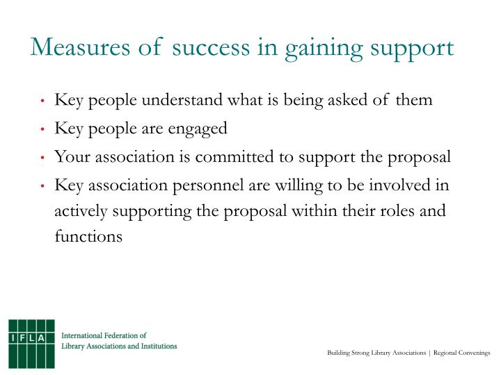 Measures of success in gaining support