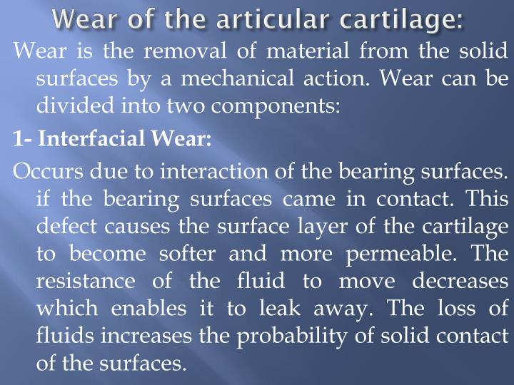Wear of the articular cartilage: