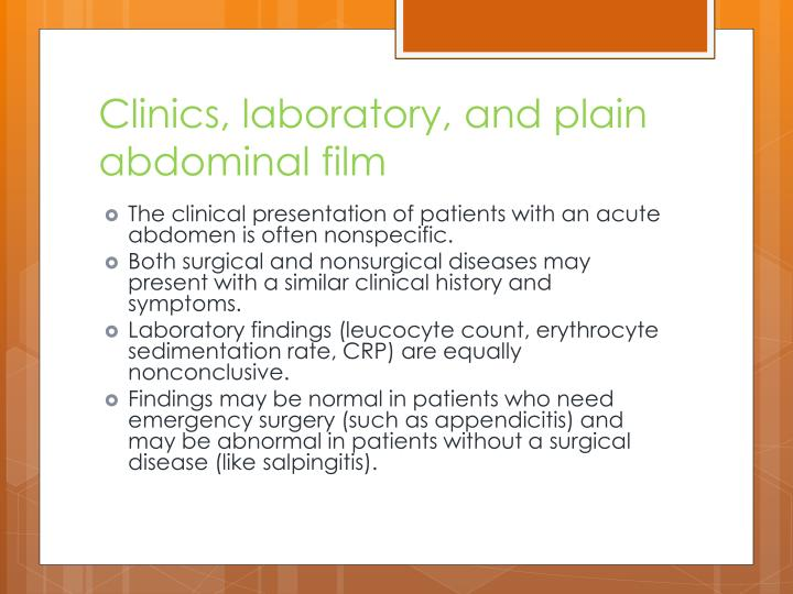 Clinics, laboratory, and plain abdominal film