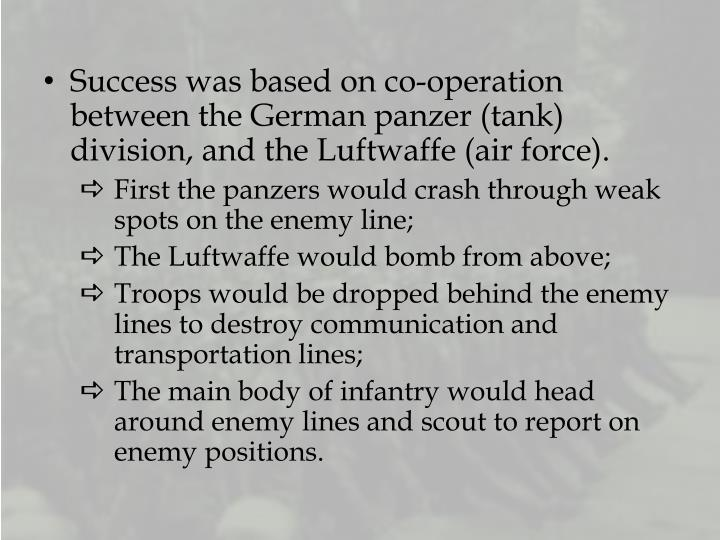 Success was based on co-operation between the German panzer (tank) division, and the Luftwaffe (air force).